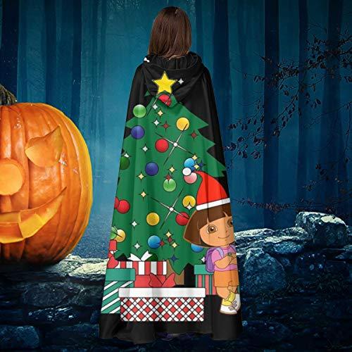 NULLYTG Dora The Explorer Alrededor del árbol de Navidad Unisex Navidad Halloween Bruja Caballero con Capucha Bata de Vampiro Capa de Disfraz de Cosplay