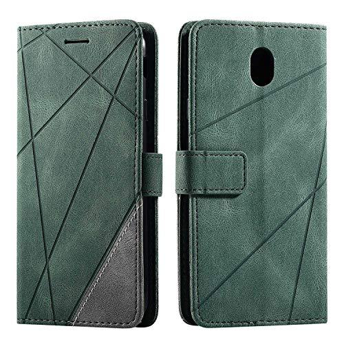 Hülle für Samsung Galaxy J7 2017, SONWO Premium Leder PU Handyhülle Flip Case Wallet Silikon Bumper Schutzhülle Klapphülle für Galaxy J7 2017, Grün