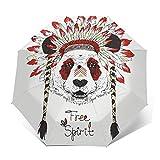 Paraguas Plegable Automático Impermeable Oso Panda Animal, Paraguas De Viaje Compacto a Prueba De Viento, Folding Umbrella, Dosel Reforzado, Mango Ergonómico