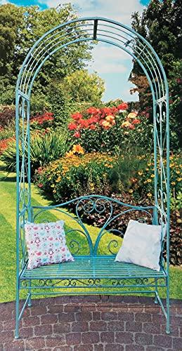 Rose arco con banco de jardín Hierro Envejecido verde Altura 230cm pérgola enrejado