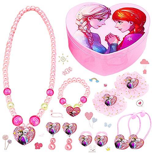 LMZZ Disney Frozen Set di gioielli 11pcs Regina ghiaccio Gioielli (1pcs collana+1pcs Braccialetto+2pcs orecchino+2pcs Squillare+2pcs Elastico+2pcs Tornante+1pcs Scatola dell'amore pieghevole)