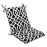 Pillow Perfect Outdoor/Indoor New Geo Square Corner Chair Cushion, 36.5' x 18', Black/White
