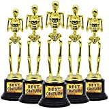 5 Halloween Best Costume Skeleton Trophy for Halloween Skull Party Favor Prizes, Gold Bones Game Awards, Costume Contest Event Trophy, School Classroom Rewards, Treats for Kids, Goodie Bag Fillers