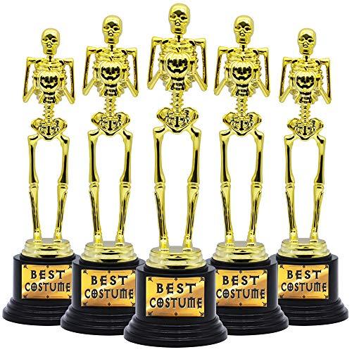 5 Halloween Best Costume Skeleton Trophy for Halloween Skull Party Favor Prizes, Gold Bones Game Awards, Costume Contest Event Trophy, School Classroom Rewards, Treats for Kids, Goodie Bag Fillers