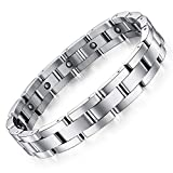 Feraco Magnetic Bracelets for Men Arthritis Pain Relief Sleek Titanium Stainless Steel Magnetic Therapy Bracelet with Removal Tool