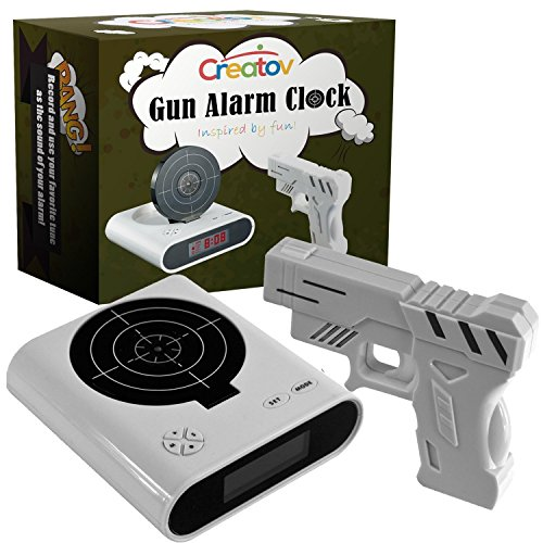 CREATOV DESIGN Target Alarm Clock with Gun - Infrared Target and Realistic Loud Sound Effects Fun Pistol Game Clocks for Heavy Sleepers Kids Boys & Girls Infrared 0.8 MW White
