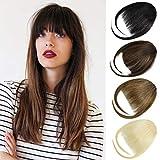DILUSILK Bangs Hair Clip in Fringe Bangs 100% Real Human Hair Extensions for Women Light Brown
