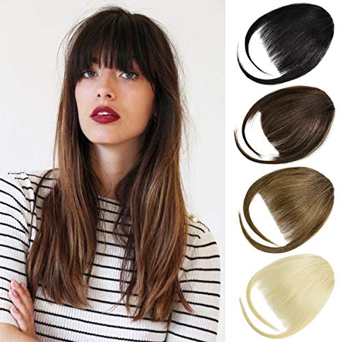 DILUSILK Bangs Hair Clip in Fringe Bangs 100% Real Human Hair Extensions for Women Medium Brown