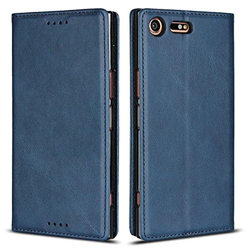 Copmob Sony Xperia XZ Premium Hülle,Premium Flip Brieftasche Ledertasche Handyhülle,[3 Kartensteckplatz][Standfunktion][Magnetverschluss],Schutzhülle für Sony Xperia XZ Premium - Blau