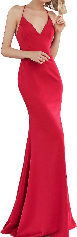 Homdor Mermaid Evening Dresses Long V Neck Open Back Bodycon Prom Formal Gowns 2019