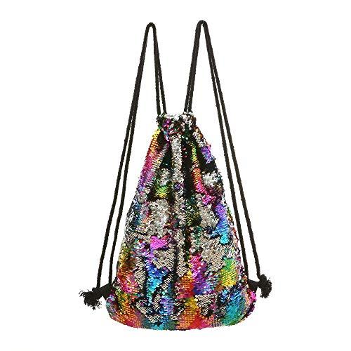 QXbecky Sac pour femme sirène paillettes tas poche sac de rangement extérieur cordon de serrage sac de sport sac à dos sac à dos loisirs sac sept couleurs 34x45cm