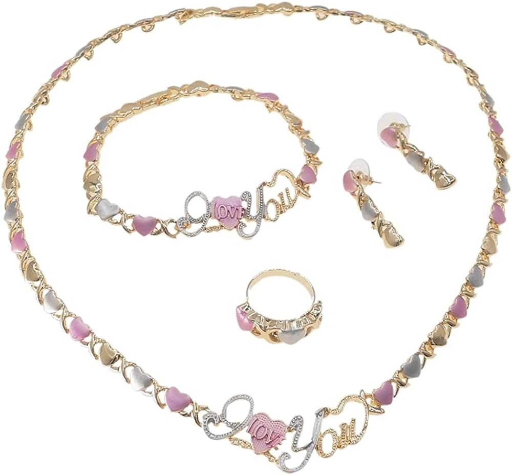 Women's Girls Multi Color Hugs & Kisses XOXO Hearts 4 Pieces Necklace Set I Love You Charm Includes Necklace Bracelet Ring Earrings Real Gold Plated Layered