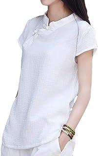 Camisa de estilo chino tradicional, de manga corta, negra y