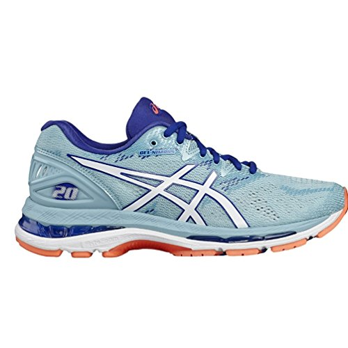 ASICS Women's Gel-Nimbus 20 Running Shoe, 5, Porcelain Blue/White/Asics Blue