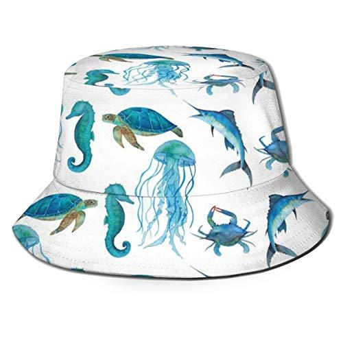 XCNGG Blaue Meeresschildkröte und Quallen Modedruck Eimer Hut Sommer Fischer Kappe für Frauen Männer