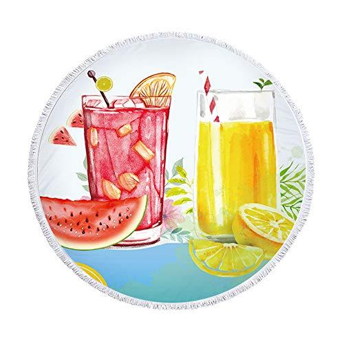 SUYUN Toalla de Playa Redonda Fruta Toalla de Playa Borla impresión sandía Toalla Playa Jugo 150 * 150 cm