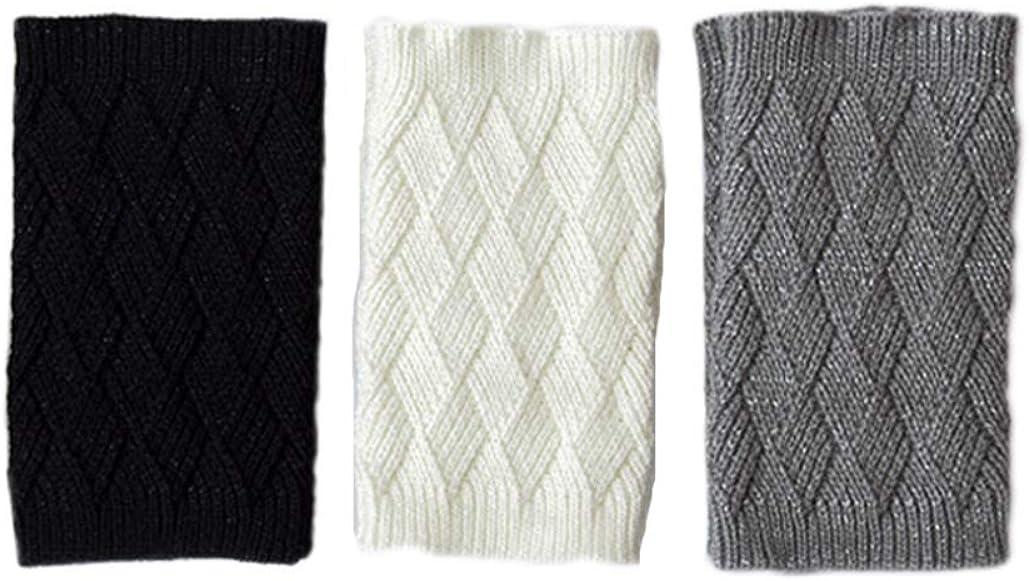 LeJulyeekay Women's Crochet Leg Warmers Winter Warm Knit Boot Cuffs Topper Socks
