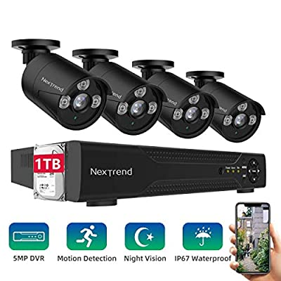 [2020 New] Security Camera System,NexTrend Wired Home Surveillance Cameras System 8CH 5MP DVR with FHD Indoor Outdoor Weatherproof CCTV Cameras 1TB Hard Drive Motion Alert Night Vision Remote Monitor