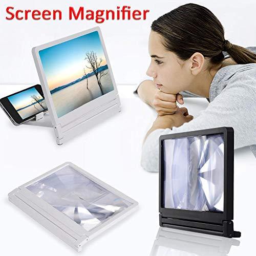 Supertop Bildschirm-Vergrößerungsglas des Handy-3D, Handy-HD-Vergrößerungsglas-Film-Verstärker mit faltbarem Halter-Standplatz für iPhone Samsung und alle Anderen intelligenten Telefone