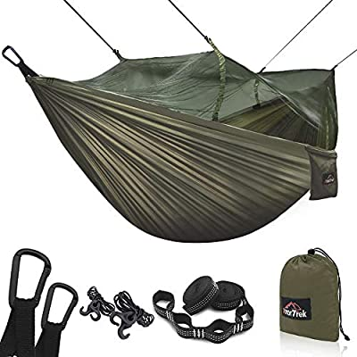 AnorTrek Camping Hammock with Mosquito Net, Double & Single Lightweight Portable Hammocks with Tree Straps & Carabiners, Parachute Hammock for Camping, Backpacking, Traveling & Hiking (Army Green)