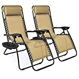 Best Choice Products Set of 2 Adjustable Steel Mesh Zero Gravity Lounge Chair Recliners w/Pillows and Cup Holder Trays, Beige