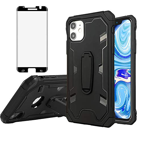 Phone Case for Samsung Galaxy S7 Edge with Tempered Glass Screen Protector Cover and Cell Accessories Stand Kickstand Rugged Protective Glaxay S7edge Gaxaly S 7 Plus Galaxies GS7 7s 7edge Cases Black