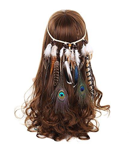 AWAYTR Damen Hippie Boho Indianer Stirnband Feder Stirnbänder für Abendkleider Halloween Karneval(Pfau und Natürlich Fasan Feder Stirnband)