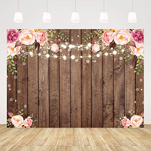 Sensfun 7x5ft Rustic Floral Wood Backdrop for Baby Shower Bridal Wedding Studio Photography Pictures Retro Wooden Floor Flower Wall Background Newborn Birthday Party Banner Photo Shoot Booth