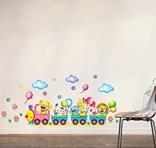 Wall Decal Sticker Animal Train Parade with Balloons Clouds and Flowers for Kids Mural Room Decor Nursery and Daycare 12.6x26 Inch DIY Self Adhesive