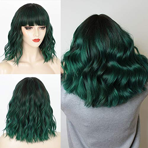 Nnzes Short Bob Wigs with Bangs Shoulder Length Bob Wavy Wig for Women 14 Inches Mixed Green Synthetic Hair for Girls Charming Heat Resistant Wigs for Cosplay Wear