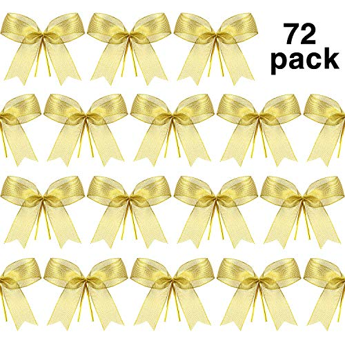 Sumind Christmas Bow Ribbon Bow for Christmas Tree, Christmas Wreath, Gift Decoration (72 Pieces)