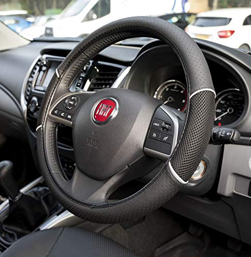 Ukb4c Car Leather Look Steering Wheel Covers Universal 15 Inch Breathable Anti Slip Wheel Sleeve Protector Black