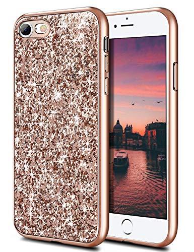 Coolden für iPhone 8 7 Hülle iPhone SE 2020 Glitzer Handyhülle Mädchen Bling Sparkle Stoßfest Case Schlank TPU Bumper Schutzhülle für iPhone 7/8 4.7 Zoll (Rose Gold)