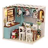 lahomia Navidad DIY casa de muñecas Modelo de Juguetes Accesorios Exquisito Adorno Estatua Realista decoración Rompecabezas de Madera Modelo de casa de