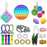 Sroomcla Stress Relief Fidget Toys Pack, Paquete de Juguetes Fidget sensoriales Baratos para niños o Adultos Fidget Box con Rainbow Pop Juguete sensorial para ADHDD/L 23Pcs Fidget Toy Set