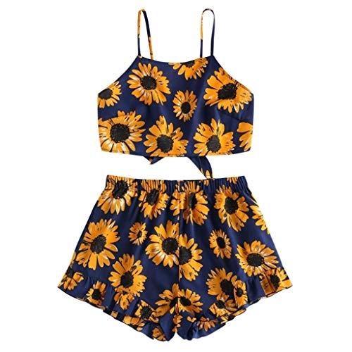 TUDUZ Shorts und Top Sets Damen Sommer Strand Zweiteiler Schulterfrei Sunflower Printed Beachwear Chiffon Boho Ärmellos Crop Tops (Schwarz -B, S)