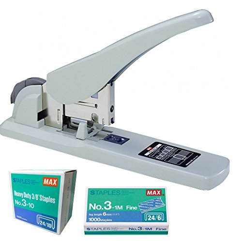 Max Heavy Duty Stapler HD-3D for Book Binding- with Free Staples (2-75 Sheets)