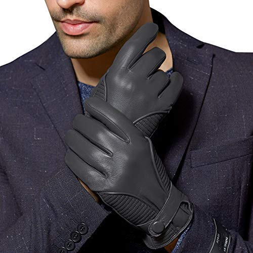 FIORETTO Winter Gloves Men Warm Driving Leather Gloves Motorcycle Touchscreen Gloves Italian Nappa Cashmere Wool (Large/X-Large, Gray)