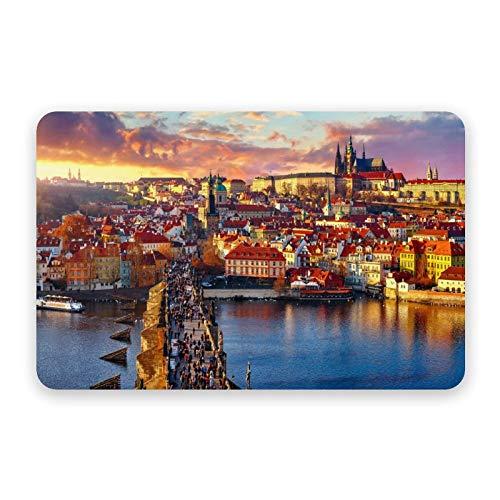 Diatom Mud Mat Charles Bridge Prague Castle And River Vltava Praga República Checa Secado rápido y antideslizante, absorbente de diatomeas alfombra de baño 40 x 60 cm