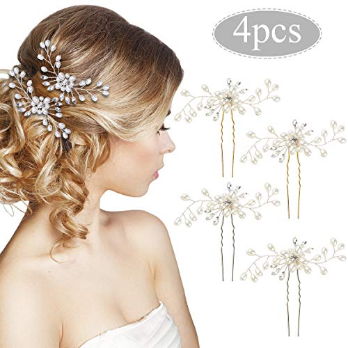 Horquillas Pelo Mujer de Novia, 4pcs Tocado Novia Perlas Diamantes de Imitación Pinzas Pelo para Boda Fiesta Velada