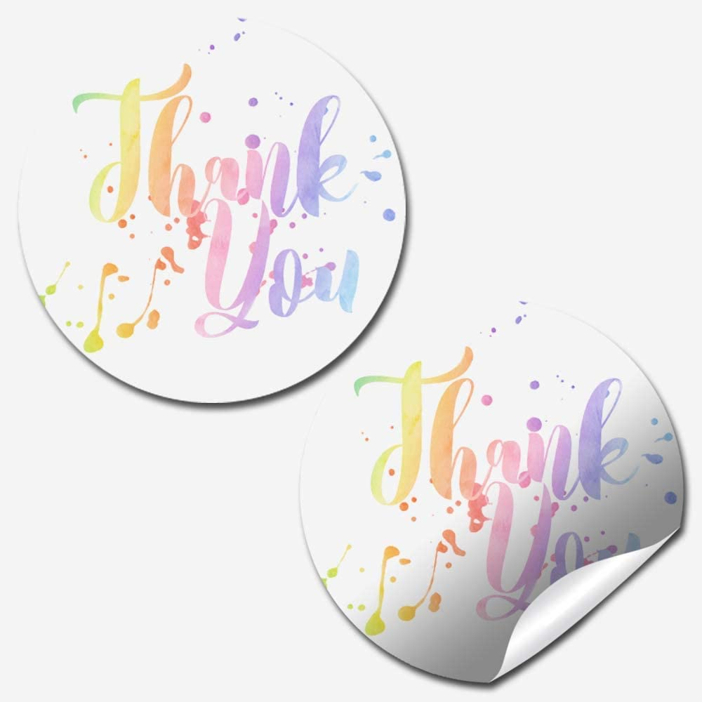 Watercolor Pastel Splatter Themed Thank You Customer Appreciation Sticker Labels for Small Businesses, 60 1.5