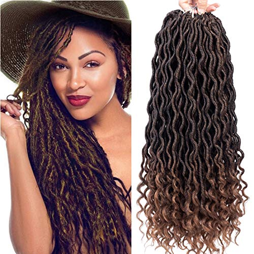 Karida 6Pcs/Lot Curly Faux Locs Crochet Hair Deep Wave Braiding Hair With Curly Ends Crochet Goddess Locs Synthetic Braids Hair Extensions (18inch, T1B/30#)