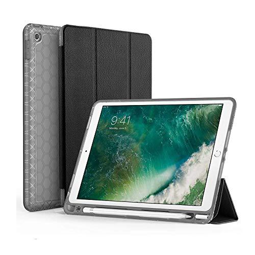 SWEES Kompatibel für iPad 9.7 2018/2017 Hülle mit Stifthalter, stoßfeste langlebige Smart Cover Ledertasche mit eingebautem Apple Pencil Halter kompatibel für iPad 9.7 Zoll 6./5. Generation, schwarz