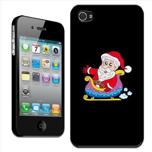 Fancy A Snuggle harde case voor Apple iPhone 4 / 4S om op te steken, motief Winkender Kerstman in de slee