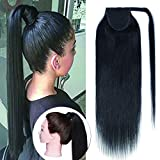 SEGO Ponytail Extension Human Hair Pony Tails Hair Extensions Wrap Around Ponytail Hair Extensions 100% Real Remy Hair With Magic Paste Long Straight For Women #01 Jet Black 20 Inch 95g