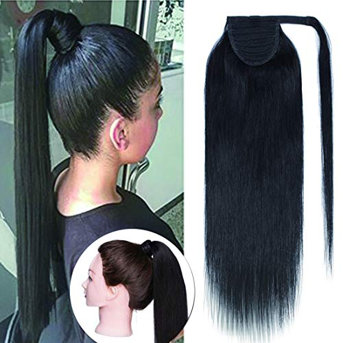 SEGO Ponytail Extension Human Hair Pony Tails Hair Extensions Wrap Around Ponytail Hair Extensions 100% Real Remy Hair With Magic Paste Long Straight For Women 14 Inch #01 Jet Black 70g