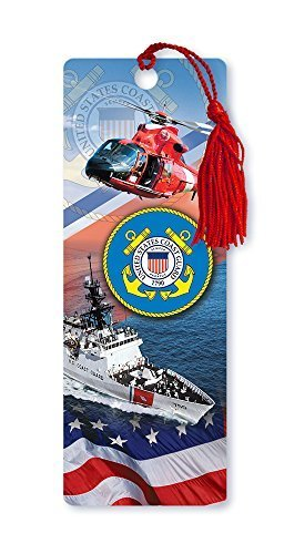 Dimension 9 3D Lenticular Bookmark with Tassel, U.S. Coast Guard Featuring HH-65C Dolphin Helicopter and USCGC Bertholf Cruiser WMSL-750 (LBM038) by Dimension