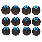 Sunmns 6 Pairs Silicone Eartips Eargels Ear Tips Gels Bud Compatible with Senso, Zeus, Otium, Hussar Sport Bluetooth Headphones, Black+ Blue