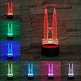 Solo 1 artículo Malasia Kuala Lumpur Twin Towers Lámpara 3D ns Luz nocturna Multicolor Recuerdos de viaje Regalo Regalo para el hogar