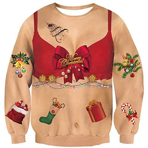 Goodstoworld Ugly Christmas Sweater Unisex Weihnachtspullover Witzige Hässlich Jumper Pullover Lächerlich Langarmshirt Futter Sexy Dame L
